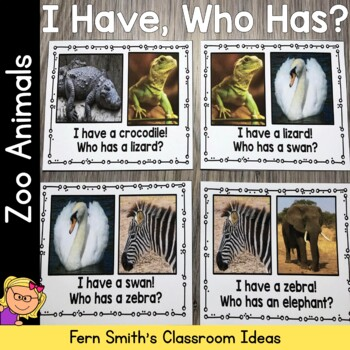 I Have Who Has Game Vocabulary Zoo Animals