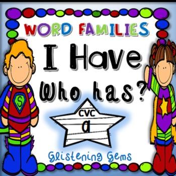 I Have Who Has - CVC words - Superhero Theme
