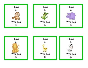 I Have Who Has abc Order lowercase Jungle Theme
