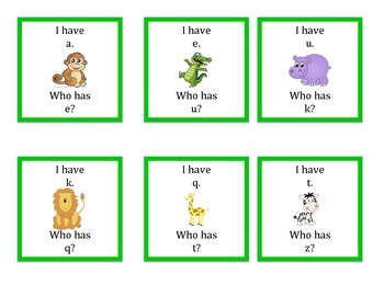 I Have Who Has abc mixed order lowercase Jungle Theme