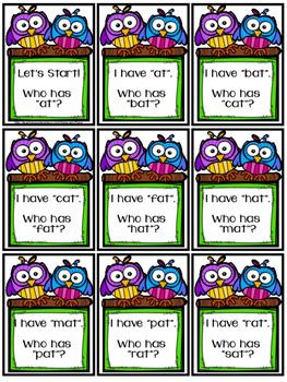 Word Family Card Game /-at /-et /-it /-ot /-ut