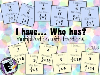 I Have Who Has - card game for Multiplying Fractions