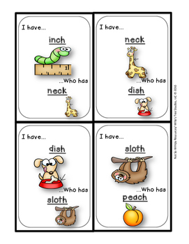 I Have Who Has...(ch, ck, sh, and th ending digraphs): A Phonics Game