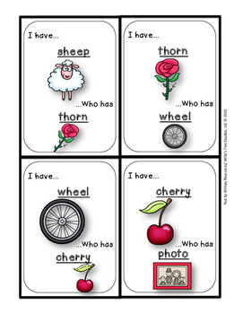 I Have Who Has...(ch, ph, sh, th, and wh beginning digraphs): A Phonics Game