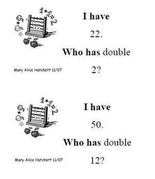 I Have  Who Has - doubles