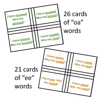 """I Have, Who Has """"ea"""" Words. Long E Sound, One Syllable EA Vowel Team Words"""