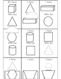 I Have, Who Has for 3D shapes and plane shapes