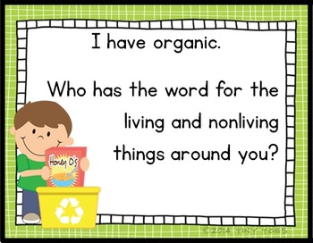 I Have, Who Has? for EARTH DAY vocabulary