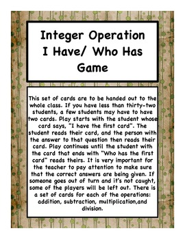 I Have Who Has for Integer Operation Bundle