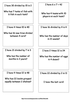 "4.OA.2 GAME ""I Have Who Has"" for Multiplication and Division Equations"