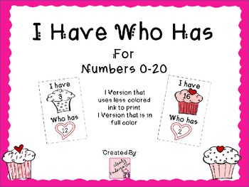 I Have Who Has for Numbers 0-20
