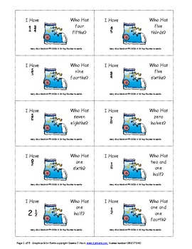 I Have - Who Has?  fractions (numbers to words)