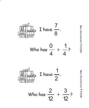 I Have Who Has - fractions w common denominator