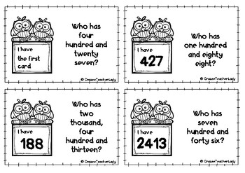 I Have, Who Has...? game (3 and 4 digit numbers)