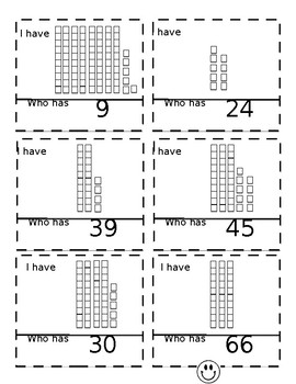 I Have Who Has game for place value using tens and ones