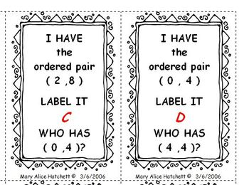 I Have Who Has - graphing ordered pairs (1)