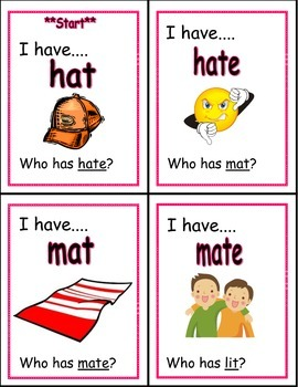 I Have Who Has long and short vowel words