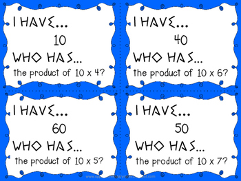 I Have Who Has multiplication facts - 10s
