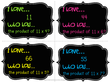 I Have Who Has multiplication facts - 11s