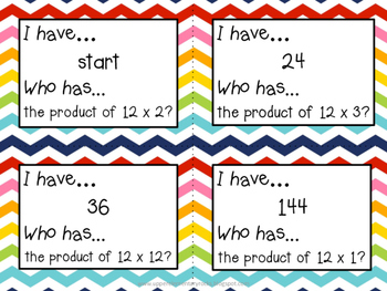 I Have Who Has multiplication facts - 12s