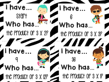 I Have Who Has multiplication facts - 3s
