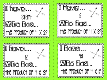 I Have Who Has multiplication facts - 4s