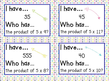 I Have Who Has multiplication facts - 5s