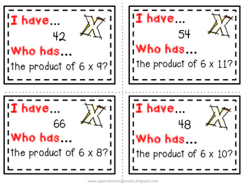 I Have Who Has multiplication facts - 6s