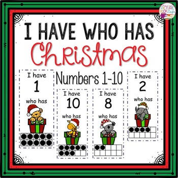Dollar Deals! I Have Who Has numbers 1-10 Game-Christmas Gift Themed
