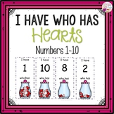 I Have Who Has numbers 1-10 Game-Counting Hearts