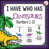 Dollar Deals! I Have Who Has numbers 1-10 Game-Dinosaur Themed