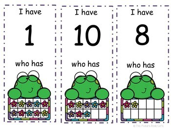 I Have Who Has numbers 1-10 Game-Happy Frog Themed