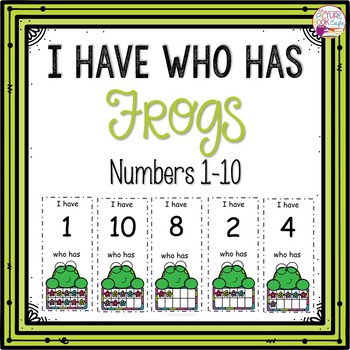 Dollar Deals! I Have Who Has numbers 1-10 Game-Happy Frog Themed