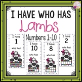 Dollar Deals! I Have Who Has numbers 1-10 Game-Lamb Themed