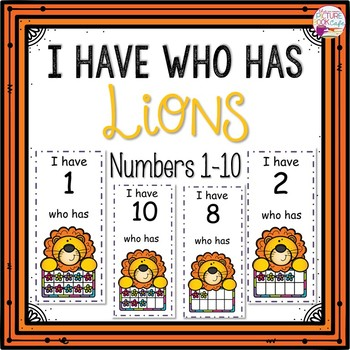 Dollar Deals! I Have Who Has numbers 1-10 Game-Lion Themed
