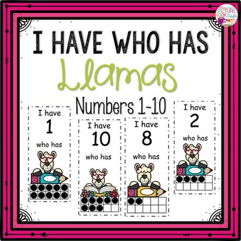 Dollar Deals! I Have Who Has numbers 1-10 Game-Llama Themed