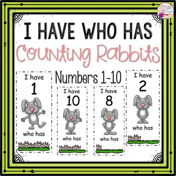 Dollar Deals! I Have Who Has numbers 1-10 Game-Rabbit Counting Themed