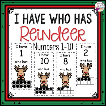 Dollar Deals! I Have Who Has numbers 1-10 Game-Reindeer Themed