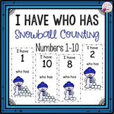 Dollar Deals! I Have Who Has numbers 1-10 Game-Snowball Counting Themed
