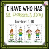 Dollar Deals! I Have Who Has numbers 1-10 Game-St. Patrick's Day Themed