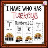 Dollar Deals! I Have Who Has numbers 1-10 Game-Turkey Themed
