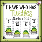 I Have Who Has numbers 1-10 Game-Turtle Themed