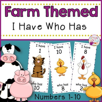 I Have Who Has numbers 1-10 Game-Farm Themed