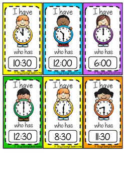 I Have, Who Has o'clock & half past game - FREEBIE