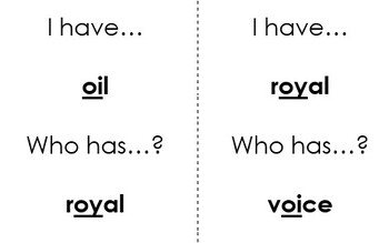 """I Have Who Has """"oi oy"""" Vowel Pattern Card Game"""