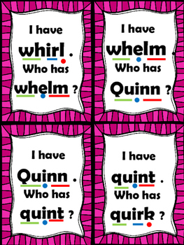 I Have... Who Has...?  qu and wh digraphs CCSS