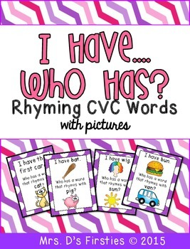 I Have, Who Has {rhyming cvc words}