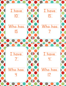 I Have Who Has #s 1-19