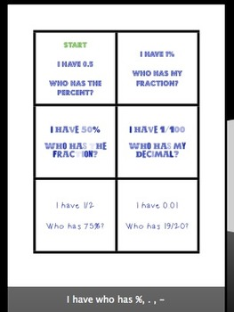 I Have Who Has %s, Fractions and Decimals