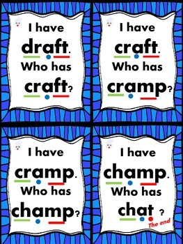 I Have... Who Has..? short a with blends and digraphs Common Core Aligned